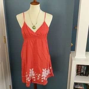 Roxy coral dress with flower embellishments size M